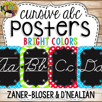 {Bright Colors} Cursive Alphabet Posters