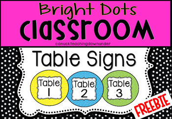 'Bright Dots' Classroom Theme Table Signs FREEBIE!