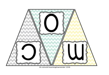 'Natural Colors' Chevron Welcome Bunting & *Editable* Class Sign