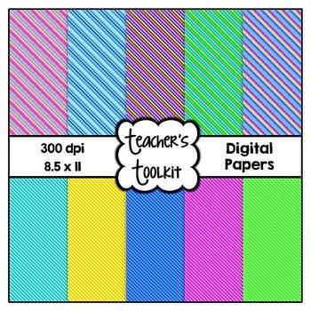 'Brights' Thin Stripes! Digital Background Papers {8.5 x 11} Clip Art CU OK