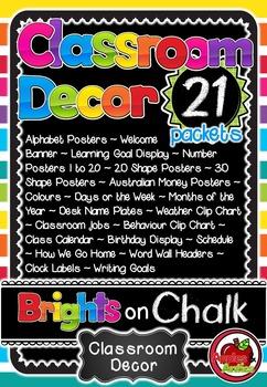 'Brights on Chalk' Classroom Decor Bundle