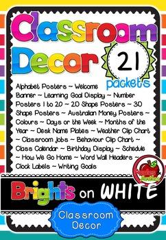 'Brights on White' Classroom Decor Bundle