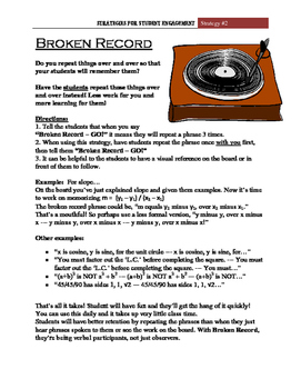 """""""Broken Record""""  Student Engagement Strategy #2"""