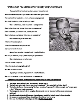 """""""Brother Can You Spare a Dime?"""" Bing Crosby (To Kill a Mockingbird)"""