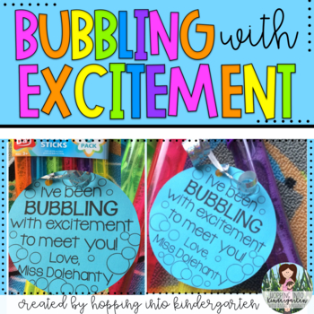"""""""Bubbling with Excitement"""" Welcome Back Gift Tags"""