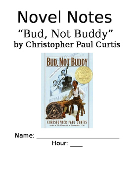 """""""Bud Not Buddy"""" by Christopher Paul Curtis Unit Novel Note"""