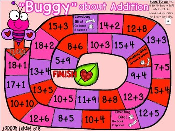 """""""Buggy"""" About Addition Game board: Valentine-themed"""