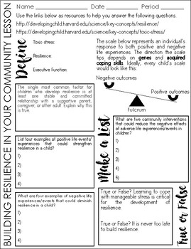 """""""Building Resilience in Your Community"""" Online Activity and Worksheet"""