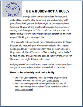 """Bullying - Elementary """"No bullying- Be a Buddy,Not a Bully"""" lesson, 2 activities"""
