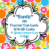 **Bundle**  144 Fractions Task Cards with QR codes 4th Gra