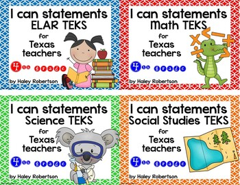 **Bundle**All 4 subjects TEKS posters!! (4th grade)- Circle pattern