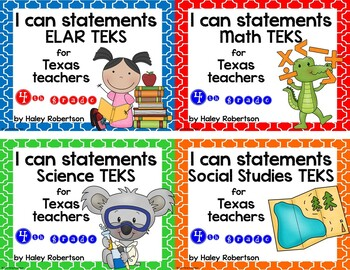 **Bundle**All 4 subjects TEKS posters!! (4th grade)- Tile pattern