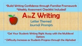 *Bundle A-Z Weekly Writing Packets Plus Matching Color Slides