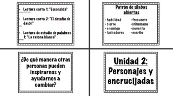 (Bundle) Benchmark Adelante Focus Wall Posters 6th Grade Unit 1 and 2