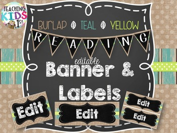 {Burlap, Teal, Yellow} Editable Banner & Labels Assorted Sizes