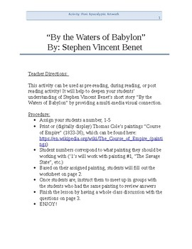 """""""By the Waters of Babylon"""" Art Comparison Activity"""