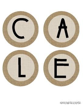 """CALENDAR"" header / letters for Bulletin Boards: Farmhouse Burlap"