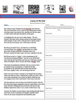 """CASEY AT THE BAT"" POETRY ANALYSIS TASK CARDS COMMON CORE"