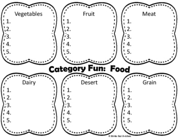 ~CATEGORIES~  (7) Fun Activities  Great for Thought Organization and Vocab!