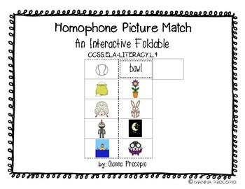 {CCSS.ELA-LITERACY.L.4} Interactive Homophone Picture Match