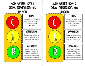 (CER) Claim Evidence and Reasoning Stoplight for Journals