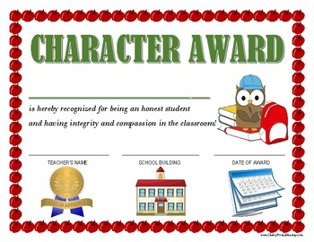"""CHARACTER AWARD"" for Primary School Kids!  CLASSROOM CERTIFICATE SERIES!"