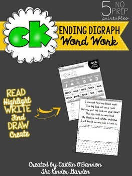 -CK Ending Digraph Word Work Printables