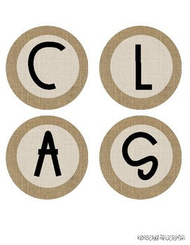 """CLASS JOBS"" header / letters for Bulletin Boards: Farmhouse Burlap"