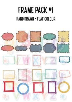 [CLIP ART] Frame Pack #1 - Hand Drawn   Doodle   Flat Color