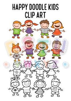 [CLIP ART] Happy Doodle Kids - Simple