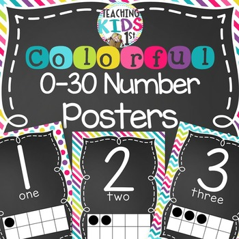 {COLORFUL} 0-30 Number Posters with tens frames