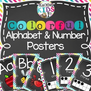 {COLORFUL} Alphabet and Number Posters Bundle