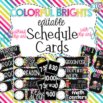 {COLORFUL BRIGHTS} EDITABLE Class Schedule