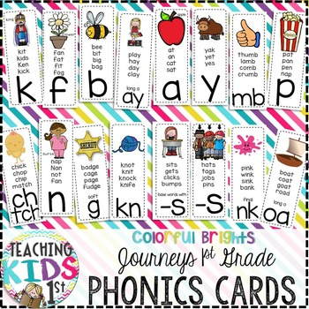 {COLORFUL BRIGHTS} Journeys 1st Grade Phonics Cards