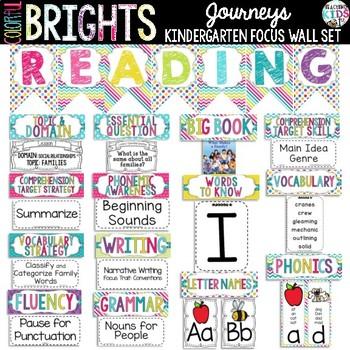 {COLORFUL BRIGHTS} Journeys Kindergarten Focus Wall Set
