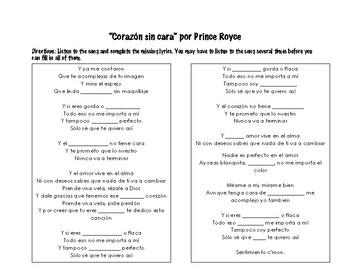 """CORAZÓN SIN CARA"" BY PRINCE ROYCE & SER WITH ADJECTIVES."