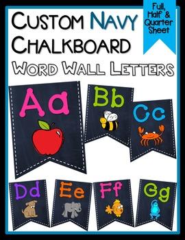 *CUSTOM* Word Wall Letters - Navy Chalkboard Background