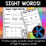 {CUTE} Dolch pre-primer sight word practice worksheets for kindergarten!
