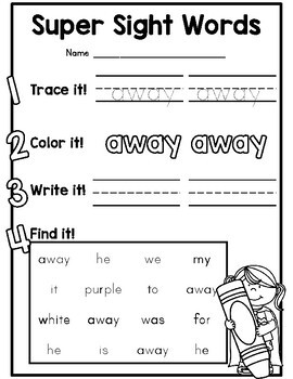 Cute Dolch Pre Primer Sight Word Practice Worksheets For