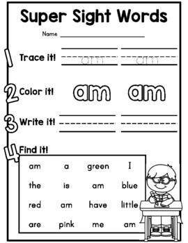 {CUTE} Dolch primer sight word practice worksheet pages!