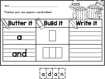 {CUTE} Fry words 1-25 popcorn (sight) word build-it and write-it practice!