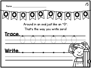 {CUTE} Number writing / formation poem worksheets for kindergarten!