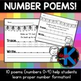 {CUTE} Number writing / formation poem worksheets for kind