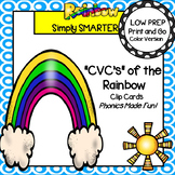 LOW PREP Rainbow Themed CVC Word Clip Cards