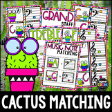 """""""Cactus"""" Music Notes Matching Flashcard Fun!  Treble and Bass Clefs"""