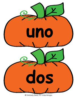 ¡Calabazas! - Numbers in Spanish POSTERS + COLOR & CUT FLASH CARDS FOR STUDENTS