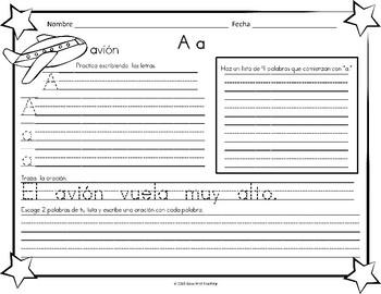 !Caligrafía y más! FREEBIE Spanish Handwriting Sheets using Spanish Alphabet