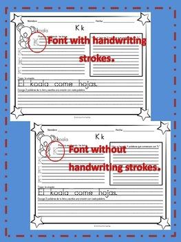!Caligrafía y más! Spanish Handwriting Sheets using Spanish Alphabet