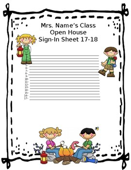 """""""Camping"""" Open House Sign-In Sheet"""