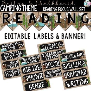 {Camping Theme-Burlap & Chalkboard} Reading Focus Wall Set